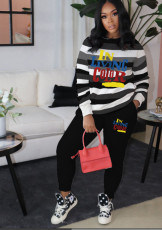 Casual Striped Letter Prrint Two Piece Pants Set DAI-8321