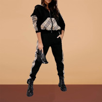 Fashion Casual Plaid Spliced Coat And Pants Sports Two Piece Set ABF-6648