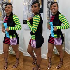 Fashion Casual Color Block Striped Mini Dress GLF-8111