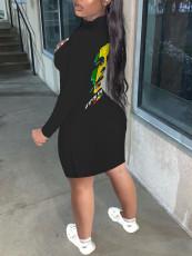 Character Print Long Sleeve Mini Dress CHY-1310