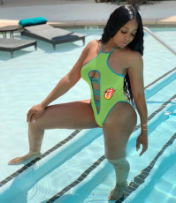 Plus Size Sexy Tongue Print Halter One Piece Swimsuits RSN-787