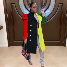 Color Block Plus Size Fashion Lapel Mid-length Puff Sleeve Trench Coat SXF-1299