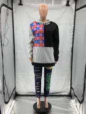 Multi-element Splice Round Neck Pullover Sweatshirts SZF-6098