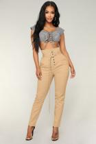Solid High Waist Pants With Belt LSL-6171