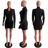 Solid Color Slim Sexy Zipper Mini Dress AWYF-710