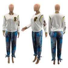 Fashion Casual Print White All-match Single-breasted Outwear SZF-6091