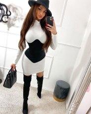 Sexy Patchwork Long Sleeve Mini Dress NIK-202