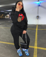 Casual Lip Print Hoodie Two Piece Sets LSD-9067