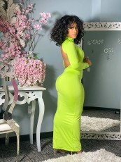 Sexy Solid Backless Turtleneck Maxi Dress LSD-9071
