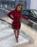 Plaid Print Long Sleeve Mini Dress MK-3043