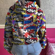 Splice Letter Print Hooded Sweatshirts SMF-8072