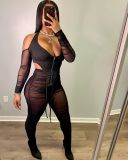 Sexy Mesh Halter Top And Pants Two Piece Sets YH-5206