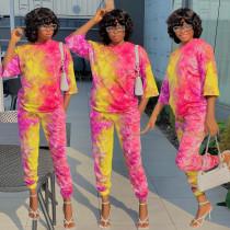 Tie Dye Print 3/4 Sleeves Two Piece Pants Set BGN-143