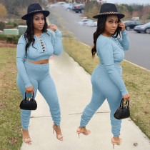 Solid Long Sleeve Lace Up Top Stacked Pants 2 Piece Sets AL-231