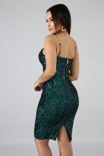 Sexy Sequined Spaghetti Strap Split Club Dress LX-8916