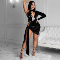 Sexy PU Leather Velvet Patchwork Irregular Club Dress LSL-6411