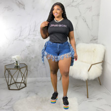 Plus Size 5XL Fat MM Denim Tassel Jeans Shorts HSF-2394