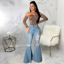 Plus Size Denim High Waist Ripped Hole Flared Jeans HSF-2376