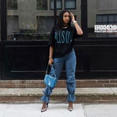 Plus Size Denim Mid Waist Lace Up Jeans HSF-2396