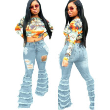 Plus Size Denim Ripped Hole Skinny Flared Jeans HSF-2362