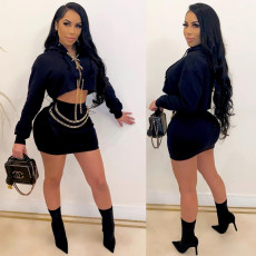 Sexy Chain Decoration Hooded Long Sleeve Mini Skirt Sets BLX-7553