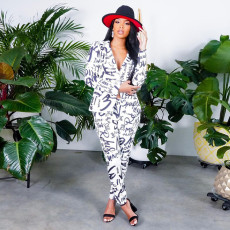 Printed Backless Blazer And Pants Two Piece Set SZF-6088