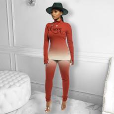 Fashion Casual Gradient Print Long Sleeve Pants Two Piece Set FENF-082