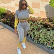 Casual Fitness Gradient Two Piece Pants Set WZ-8356