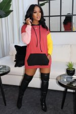 Plus Size Contrast Color Patchwork Hoodie Dress ML-7418