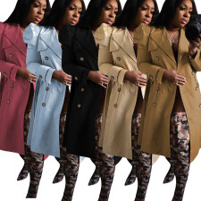 Casual Full Sleeve Double-breasted Long Trench Coat YD-8358