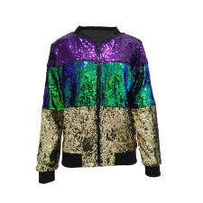 Casual Sequined Patchwork Zipper Jacket TR-1100