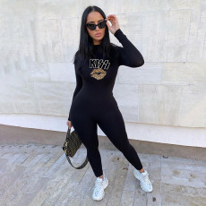 Casual Letter Lips Print Long Sleeve Tight Jumpsuit YIBF-6035