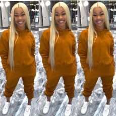 Casual Solid Hoodie Sweatpant Two Piece Sets MOY-8302