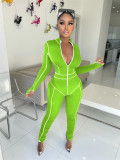 Casual Fitness Zipper Long Sleeve Stacked Jumpsuits MEM-8325
