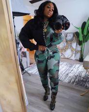 Plus Size Camo Leopard Print Lace Up Two Piece Sets MTY-6350-3