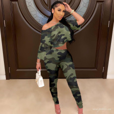 Fashion Casual Camouflage Print Two Piece Set YUF-9056