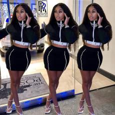Sexy Long Sleeve Zipper Crop Top Mini Skirt 2 Piece Sets SZF-9011