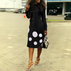 Polka Dot Print Long Sleeve Midi Dress OD-68254
