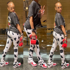 Fashion Cow Print Stacked Casual Pants MIF-9038