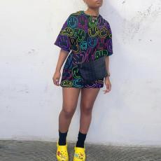 Smiley Print Short Sleeve O Neck Mini Dress YD-8359