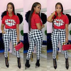 Plaid Lip Print T Shirt Pants Two Piece Suits GS-1906
