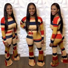 Casual Striped Long Sleeve Flared Pants 2 Piece Sets OD-68319