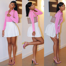 Fashion Slim Long Sleeve Top And Pleated Skirt Two Piece Set MIF-9039