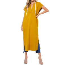 Solid Hooded Short Sleeve Split Hollow Out Maxi Dress RUF-8176