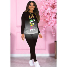Gradient Letter Print Long Sleeve Two Piece Pants Set FOSF-8030