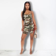Camouflage Print Cami Top Shorts Two Piece Suits FOSF-8024