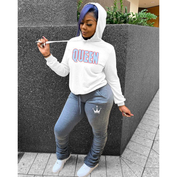 QUEEN Letter Print Hoodie Stacked Sweatpants 2 Piece Sets FOSF-8029