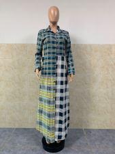 Fashion Casual Plaid Splice Lapel Long Shirts GLF-8082