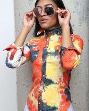 Casual Printed Long Sleeve Turndown Collar Shirt Tops LSL-6015