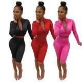 Solid Long Sleeve Knee Lengh Shorts Two Piece Sets FOSF-8002